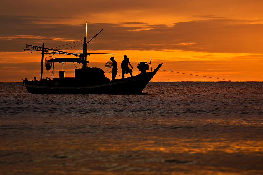 Hua Hin, fishing boat at sunset